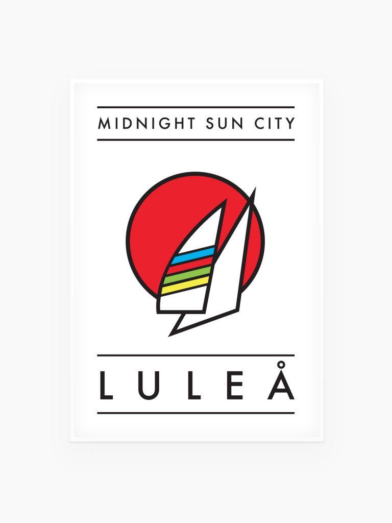 Midnight Sun City :  Luleå  tavla / Poster – Sails 70x100cm